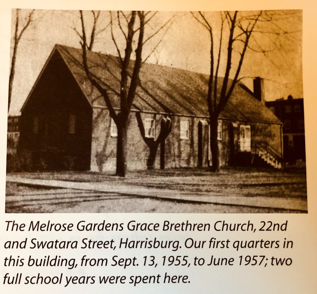 Melrose Gardens Grace Brethren Church brown building sepia photo with trees