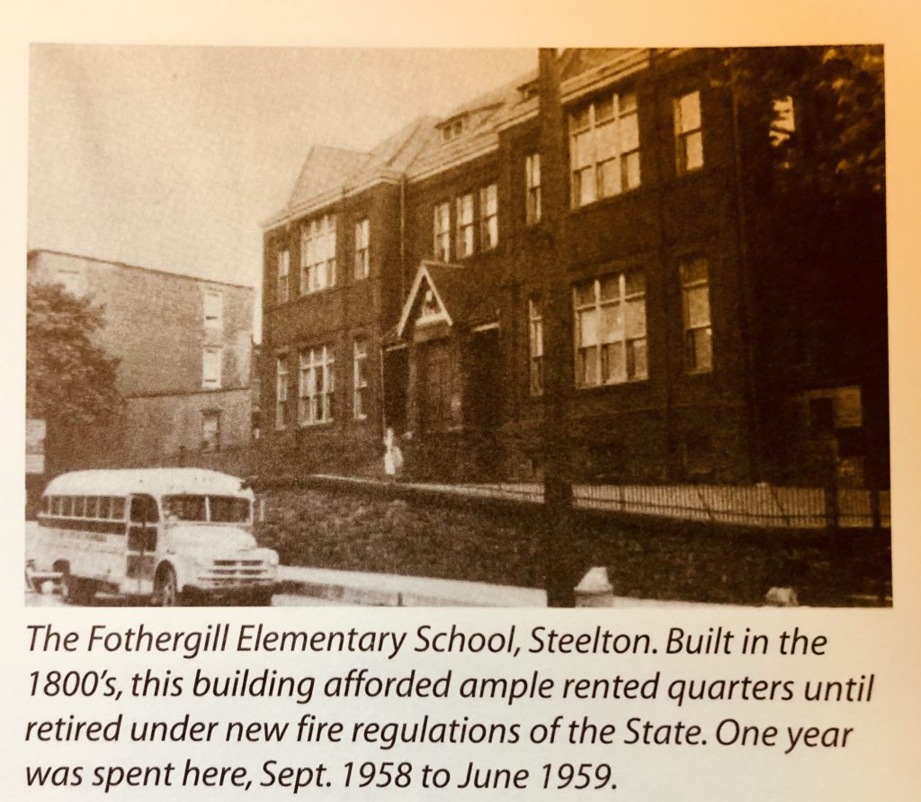 Fothergill Elementary School Steelton with school bus in front of building 1958-1959