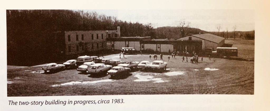 Original Harrisburg Christian School sepia photo 1983 cars parked people in parking lot in front of building