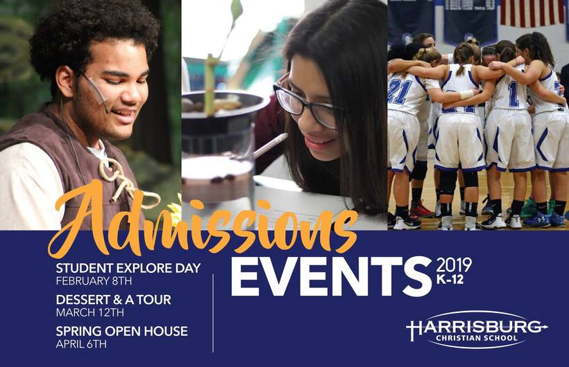 Admissions Event flyer with students interacting in events and classes