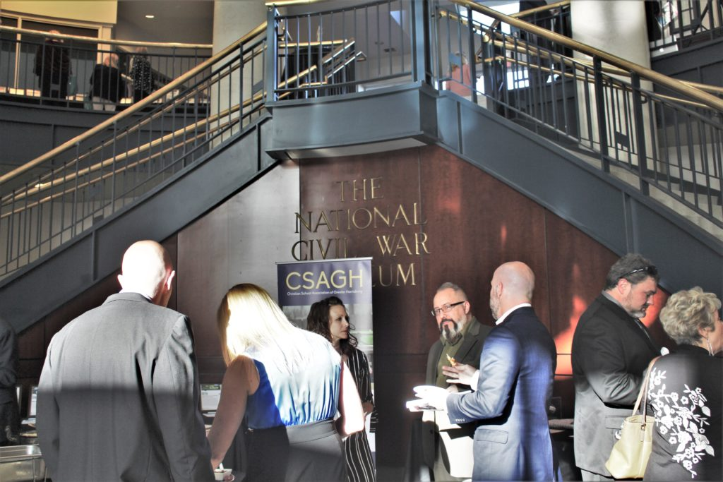 The National Civil War Museum stairs with CSAGH Gala event adults socializing