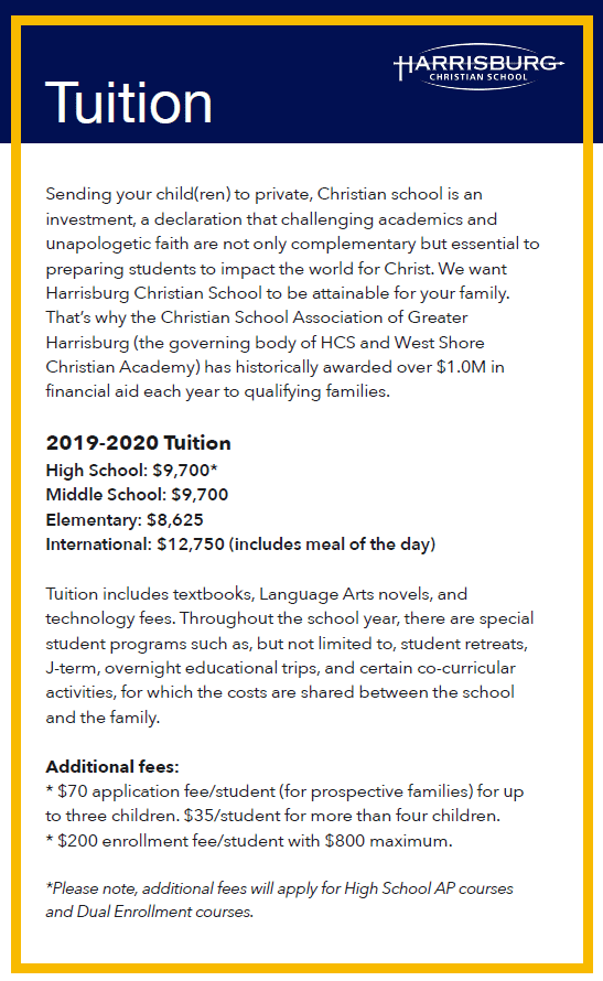 Summary of Tuition cost at Harrisburg Christian School