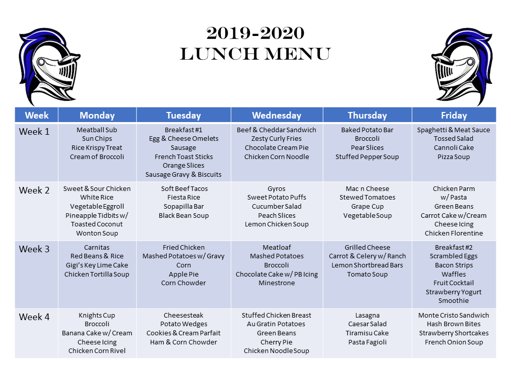 Knights' Cafe Lunch Menu