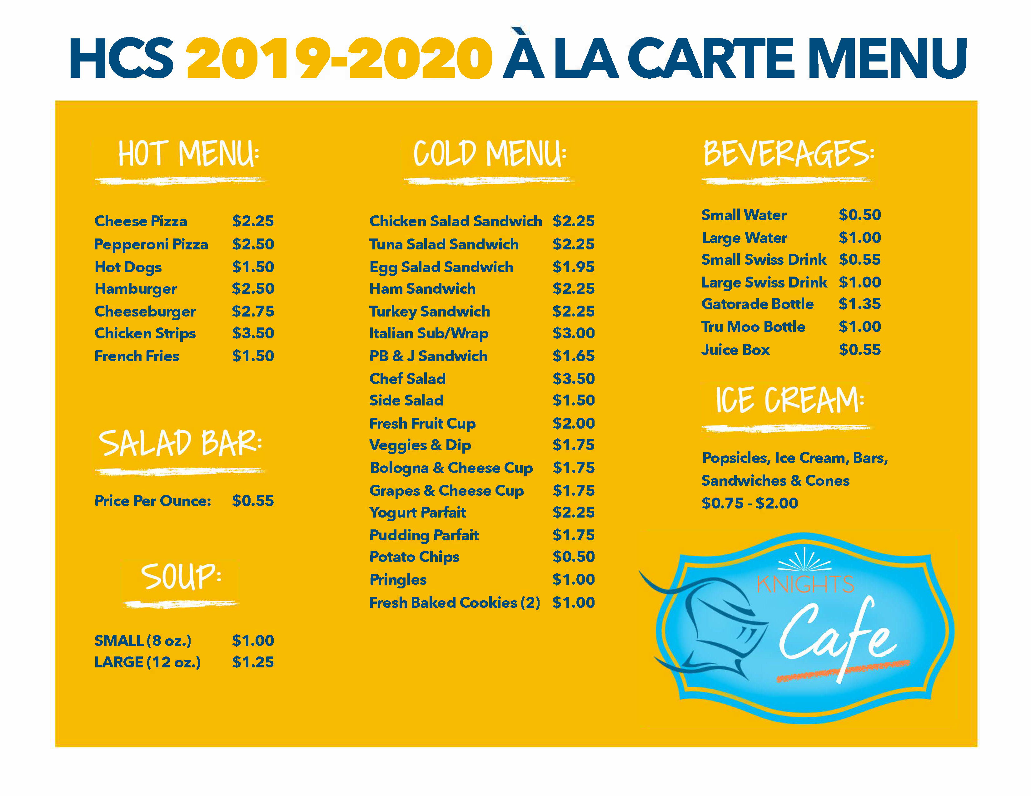 Knights' Cafe A La Carte Menu