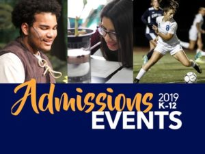 Admissions event flyer 2019 k-12 with students photos