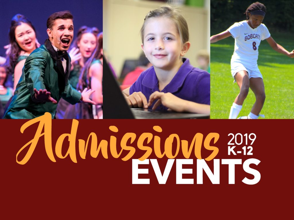 West Shore Christian Academy Admissions Event flyer with photos of students engaging in activities