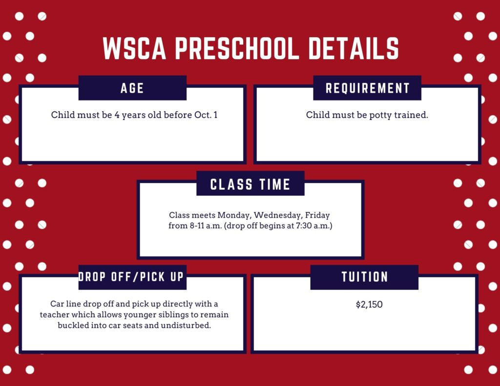 WSCA preschool infographic covering requirements, class time, and tuition